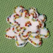 Sparkly felt beaded pin.