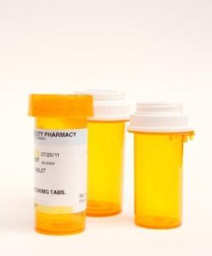 Pill Bottles on White Background