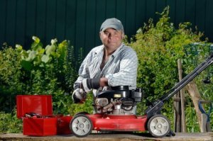 Man and Lawnmower
