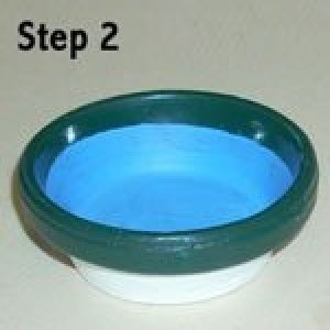 Painting interior of clay pot saucer