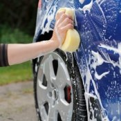 Washing a Blue Car