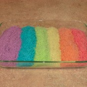 Rice drying in a baking dish.