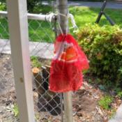 Orange bag for garden gloves.