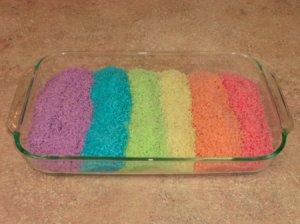 Rainbow Rice in Glass Casserole Pan