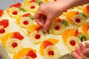 Fresh Fruit Cakes Being PRepared