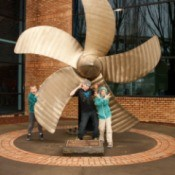 Boys Posing at OMSI Sub Propeller