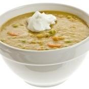 Split Pea Soup in White Bowl