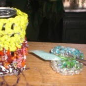 Recycled Can Cozy on Table