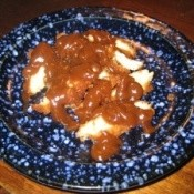 Peanut Chicken on Blue Plate