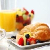 Brunch With Croissant and Fruit