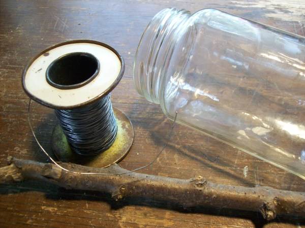 Jar and wire for making garden vases.
