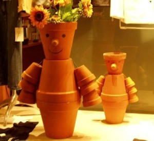 Flower Pot People made from clay pots.