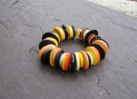 Halloween colored button bracelet.
