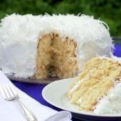 Coconut Cake on Purple Table Cloth