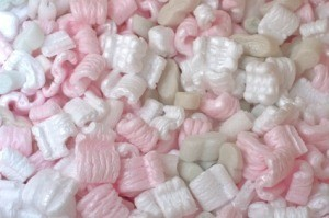 Pink and White Packing Peanuts