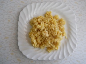 Curried chicken and rice on plate