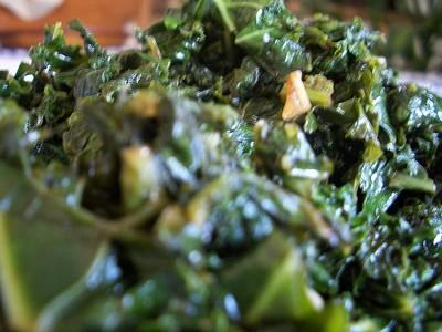 A plate of sauteed kale