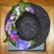 Flowered hat door decoration.