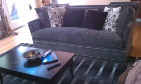 Dark gray couch and black rug.