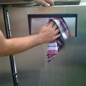 Polishing stainless steel with vegetable oil.