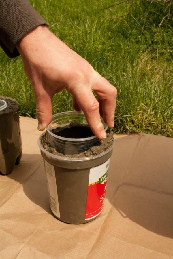 Pressing Container into Hypertufa Concrete