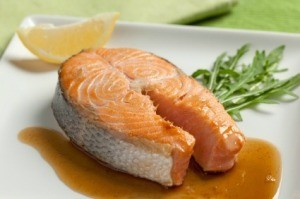 Baked Salmon On White Plate