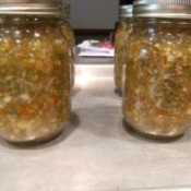 Quart jars of pickle relish