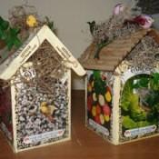 Decorative birdhouses.