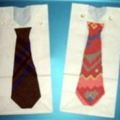 Father's Day gift bags shaped like a shirt and tie.