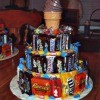 Candy arranged into shape of birthday cake.