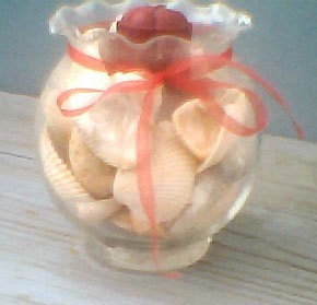 Glass bowl filled with sea shells.