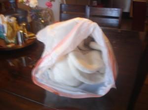 Coat in white plastic trash bag.