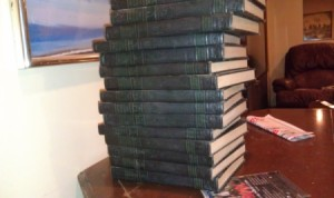 Stack of Compton's encyclopedias