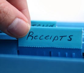 A file folder for tax receipts.