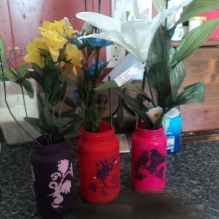 Painted Glass Jar Vases