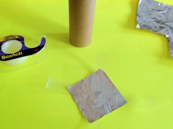 Aluminum foil square and tape.