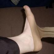 """No Show"" Socks Over Foot"