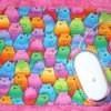 Mousepad with a cat fabric motif.
