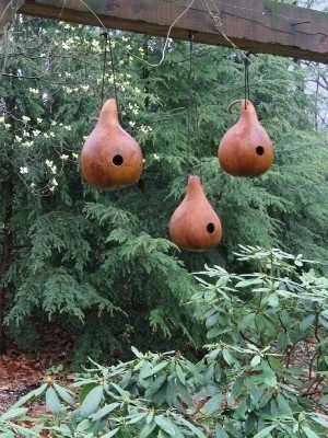 Birdhouse made from gourds.
