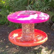Recycled Frisbee Bird Feeder feeder made from plastic container and two Frisbees