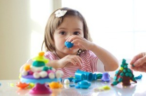 Girl Playing with Homemade Playdough