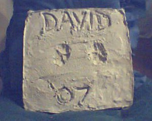 Stepping stone with David's name.