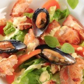 Seafood Salad in White Bowl