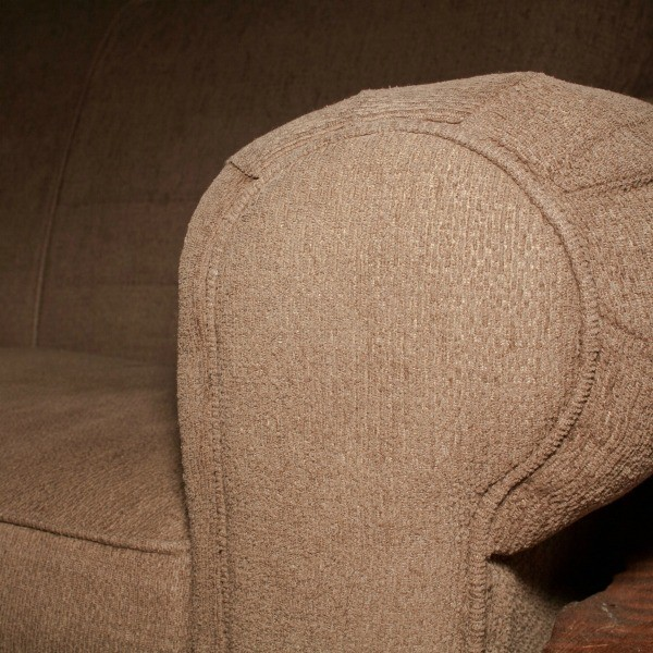Brown Fabric Upholstery On Couch