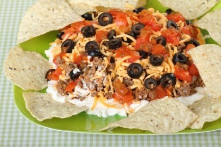 Taco Dip on Green Plate