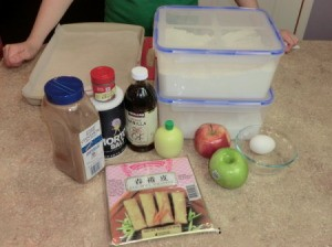 Ingredients for apple egg rolls.
