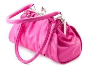 Pink Purse on White Background