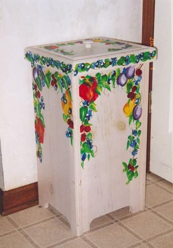 Painted potato bin.