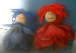 Blue and red flower faries.