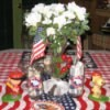 Patriotic Fourth of July centerpiece.